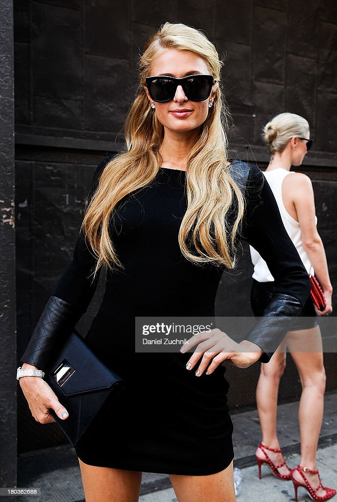 Paris Hilton is seen outside the Jeremy Scott show on September 11, 2013 in New York City.