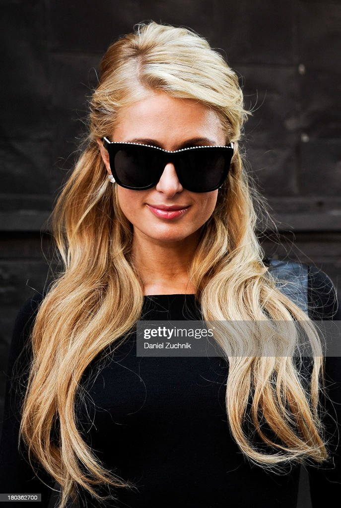 <a gi-track='captionPersonalityLinkClicked' href=/galleries/search?phrase=Paris+Hilton&family=editorial&specificpeople=171761 ng-click='$event.stopPropagation()'>Paris Hilton</a> is seen outside the Jeremy Scott show on September 11, 2013 in New York City.