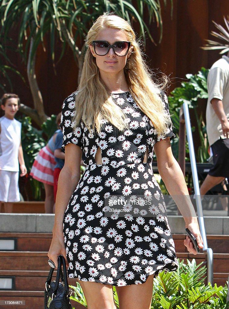 Paris Hilton is seen shopping in Malibu on July 6, 2013 in Los Angeles, California.