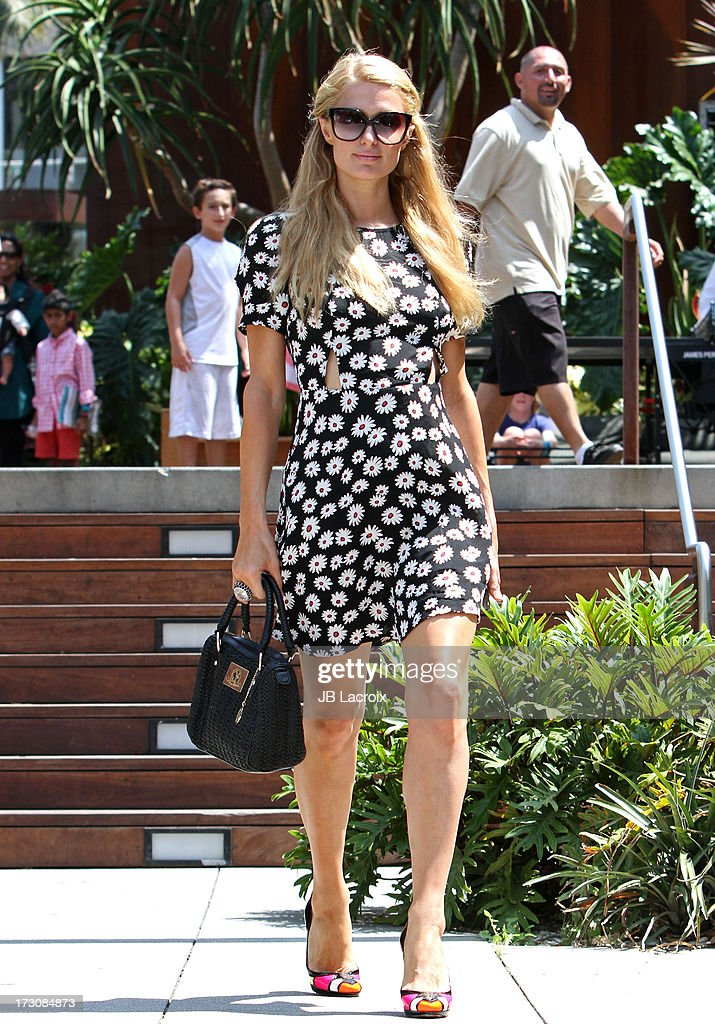 Paris Hilton is seen shopping in Malibu on July 6, 2013 in Los Angeles, California.