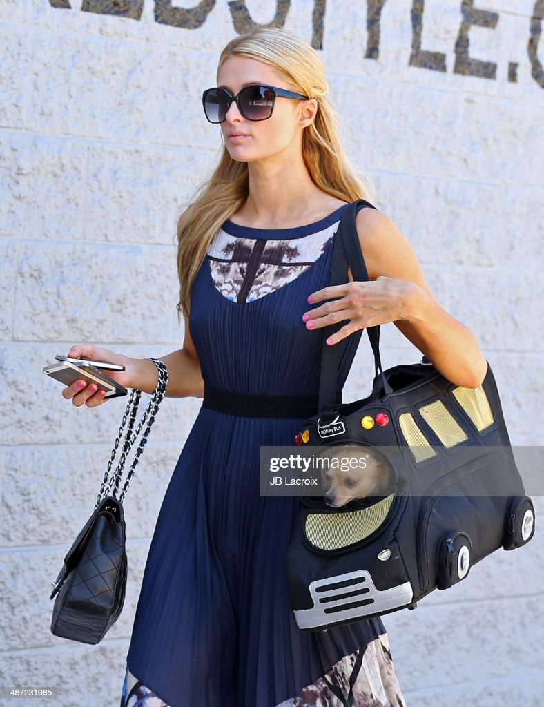 Paris Hilton is seen shopping on April 28, 2014 in Los Angeles, California.