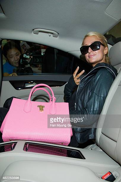 Paris Hilton is seen upon arrival at the Incheon International Airport on July 17 2014 in Incheon South Korea