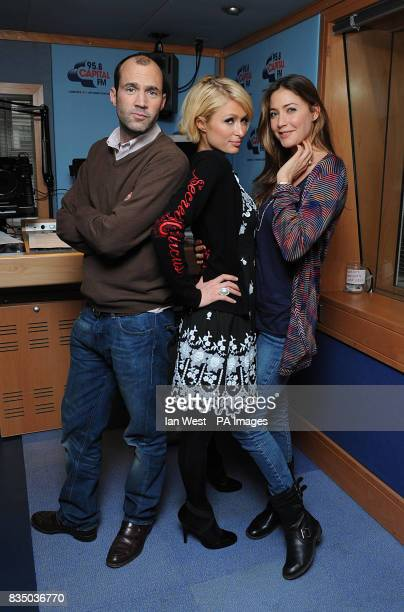 Paris Hilton joins Johnny Vaughan and Lisa Snowdon for the Capital Breakfast show at Capital Radio London