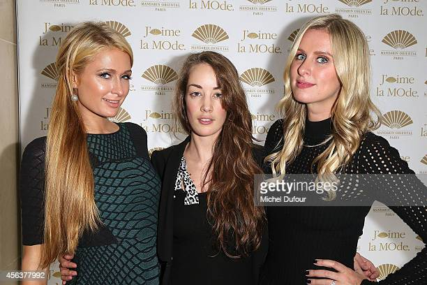 Paris Hilton Juliette Besson and Nicky Hilton attend 'J'aime La Mode 2014' party in Mandarin Oriental as part of the Paris Fashion Week Womenswear...