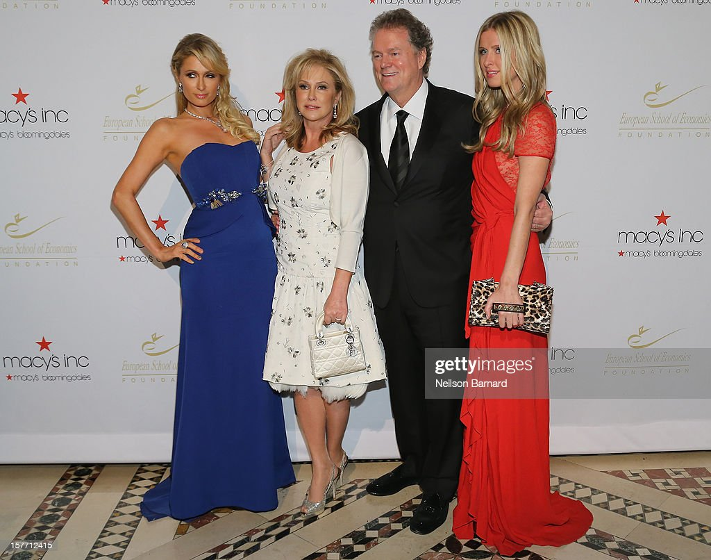 Paris Hilton, Kathy Hilton; Rick Hilton and Nicky Hilton attend European School Of Economics Foundation Vision And Reality Awards on December 5, 2012 in New York City.