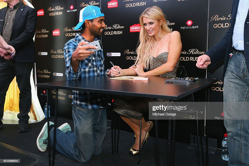 Paris Hilton listens to a fan during a Q&A with fans at Westfield Doncaster on November 18, 2016 in Melbourne, Australia.
