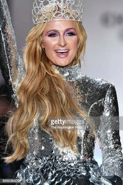 Paris Hilton models the finale dress in the Christian Cowan Fall/Winter '17 fashion show