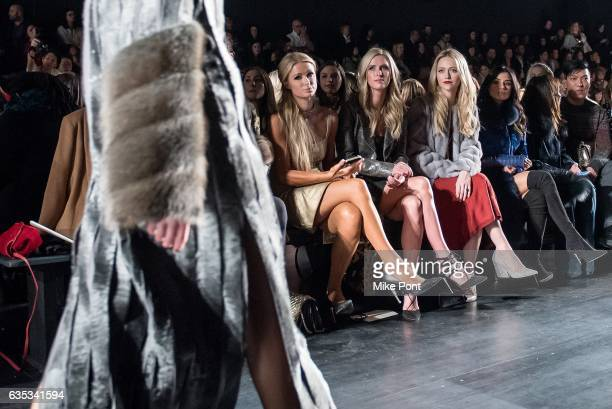 Paris Hilton Nicky Hilton Rothschild Johanna Braddy and Diane Guerrero attend the Dennis Basso collection during New York Fashion Week The Shows at...