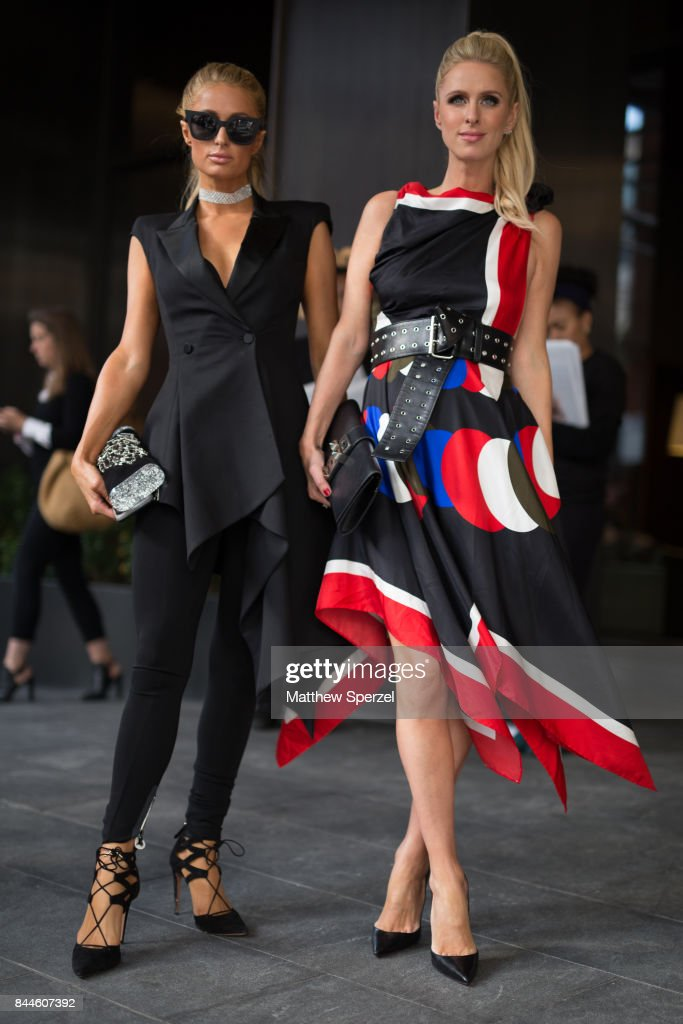 Paris Hilton & Nicky Rothschild-Hilton are seen attending Monse during New York Fashion Week wearing Edie Parker on September 8, 2017 in New York City.