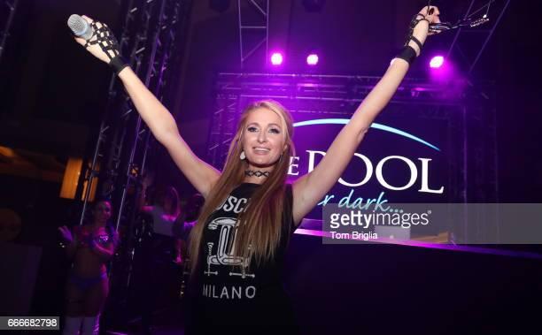 Paris Hilton performs at The Pool After Dark at Harrah's Resort on Saturday April 8 2017 in Atlantic City New Jersey