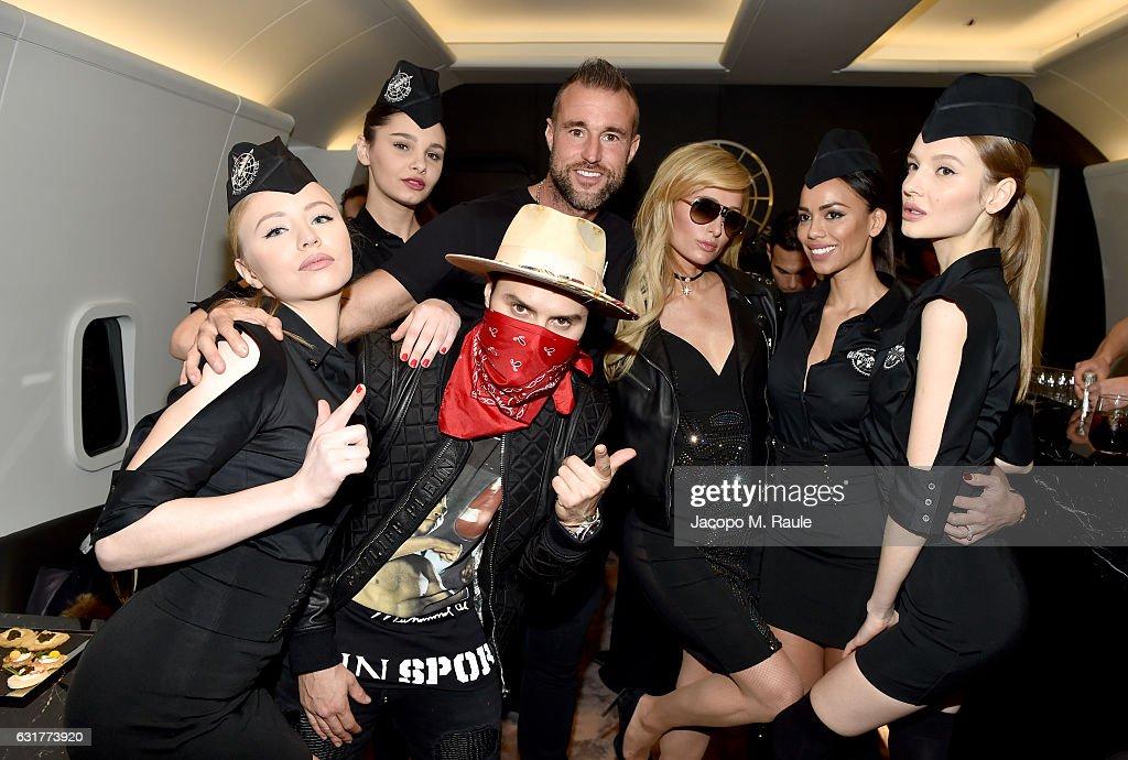 Paris Hilton, Philipp Plein and Alec Monopoly attend Philipp Plein Boutique Opening during Milan Men's Fashion Week Fall/Winter 2017/18 on January 15, 2017 in Milan, Italy.