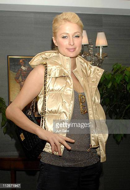 Paris Hilton poses at her penthouse entrance at her hotel on November 9 2007 in Seoul in South Korea
