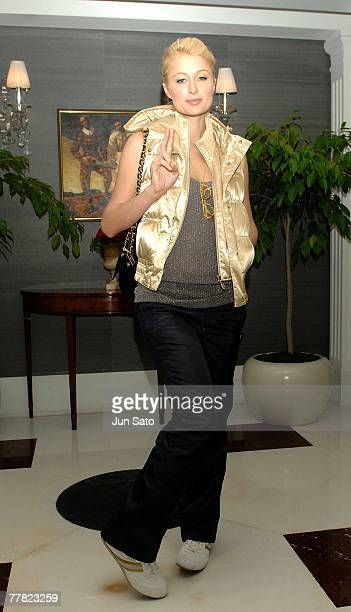 Paris Hilton poses at her penthouse entrance at her hotel on November 9 2007 in Seoul in South Korea *** EXCLUSIVE