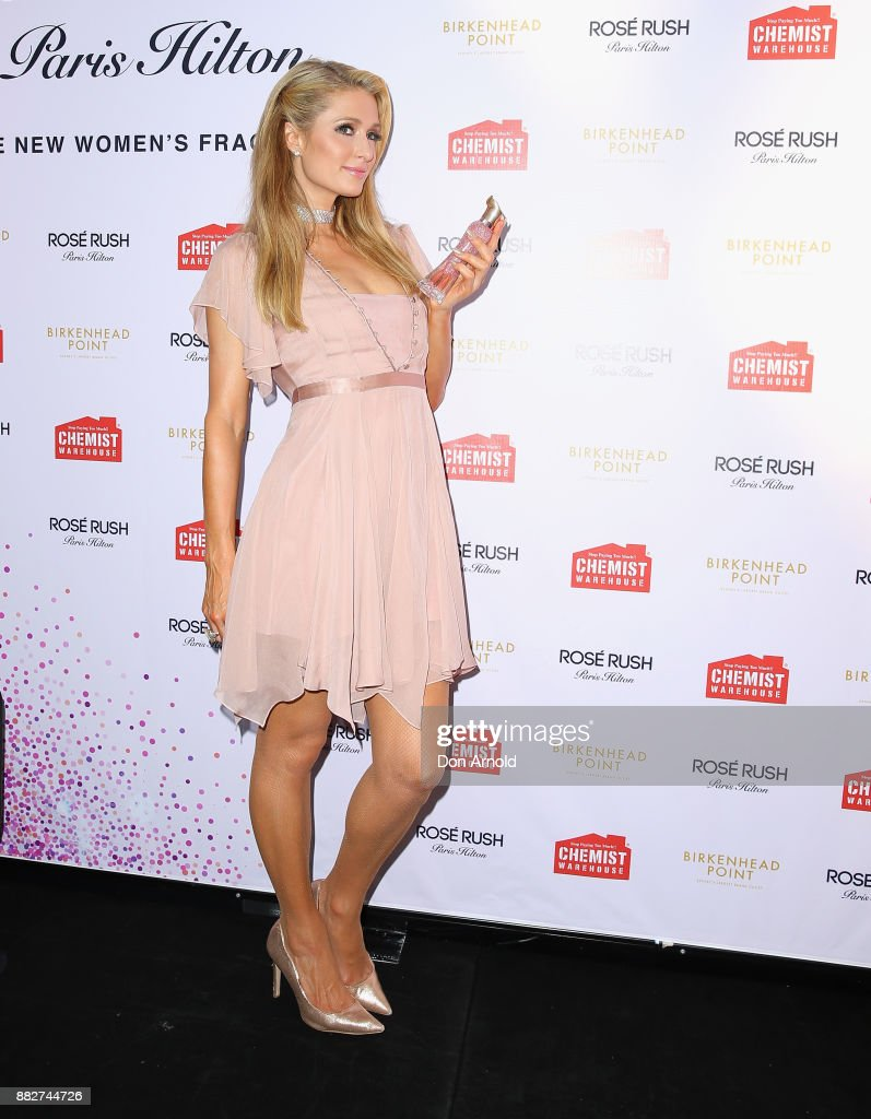 Paris Hilton poses at the launch of her new fragrance Rose Rush on November 30, 2017 in Sydney, Australia.