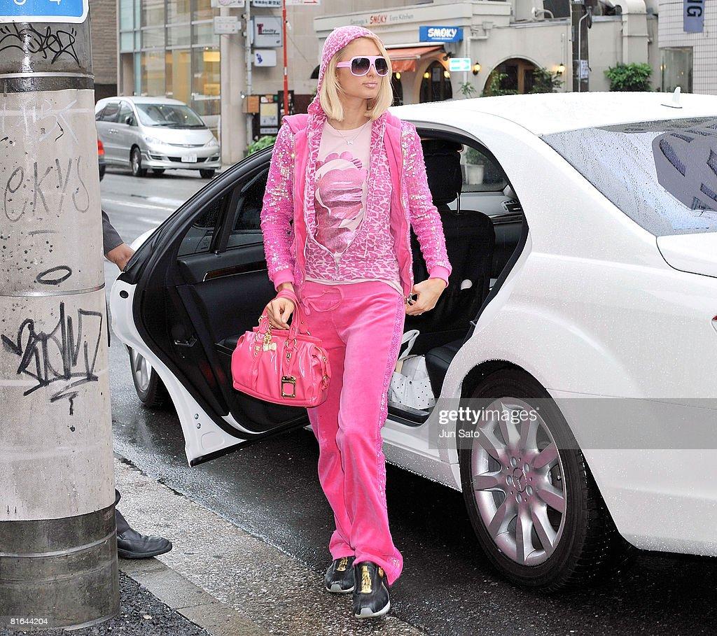 Paris Hilton visits Samantha Thavasa Omotesando Gates Store on May 31 2008 in Tokyo Japan