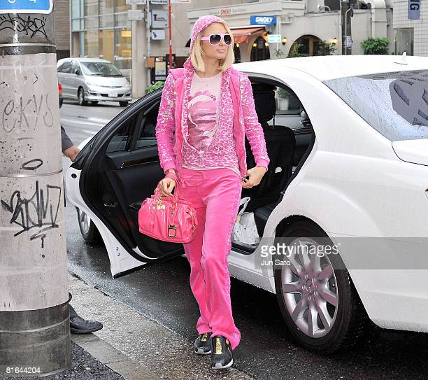 Paris Hilton visits Samantha Thavasa Omotesando Gates Store on May 31 2008 in Tokyo Japan