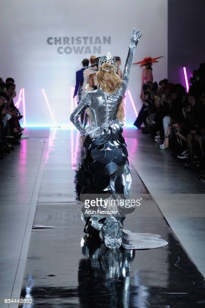 Paris Hilton walks the runway at the Christian Cowan Fall/Winter 2017 Fashion Show at Pier 59 on February 9 2017 in New York City