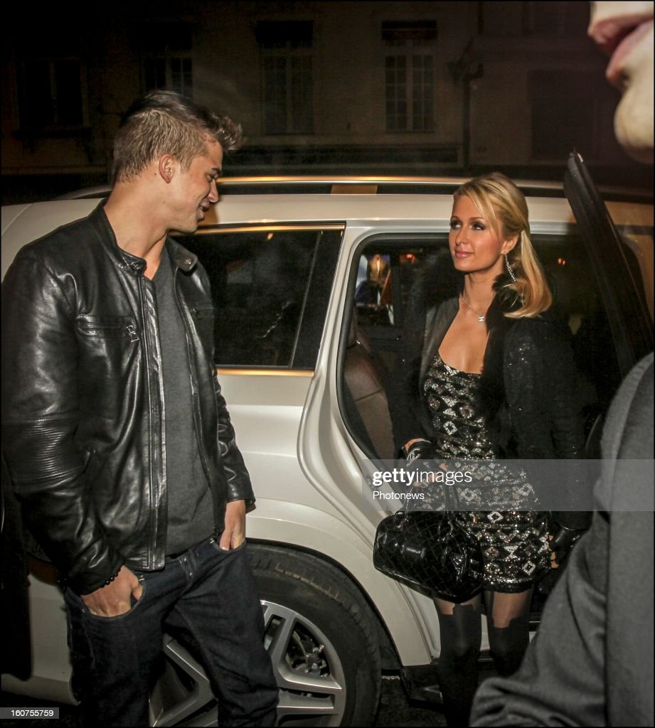 Paris Hilton with her boyfriend the model Riper Viperi attend the party she hosted at the Gotha Club on January 31, 2013 in Brussels , Belgium.