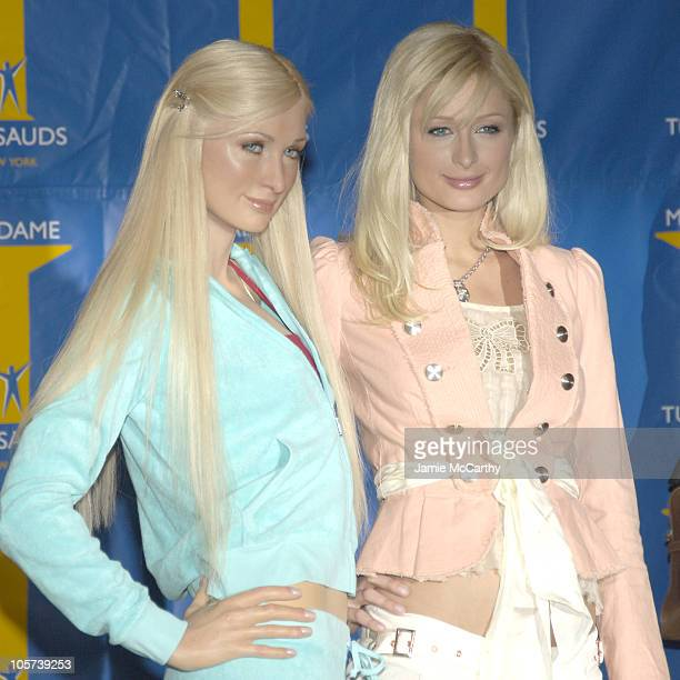 Paris Hilton with Paris Hilton Wax Figure during The Cast of 'House of Wax' Launches 'Chamber Live Featuring House of Wax' at Madame Tussauds New...