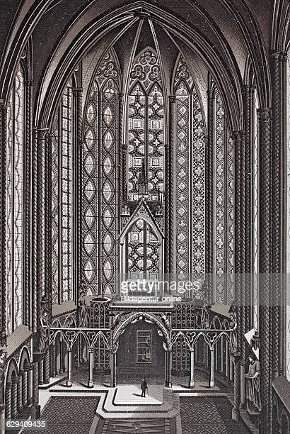 Paris interior of la sainte chapelle france historic copperplate etching from 1860