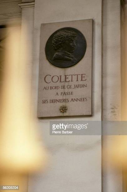 Paris Ist district Medallion in memory of Colette French writer garden of PalaisRoyal
