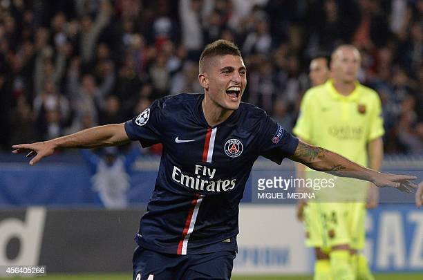 Paris' Italian midfielder Marco Verratti celebrates after scoring a goal during the UEFA Champions League football match Paris SaintGermain vs...