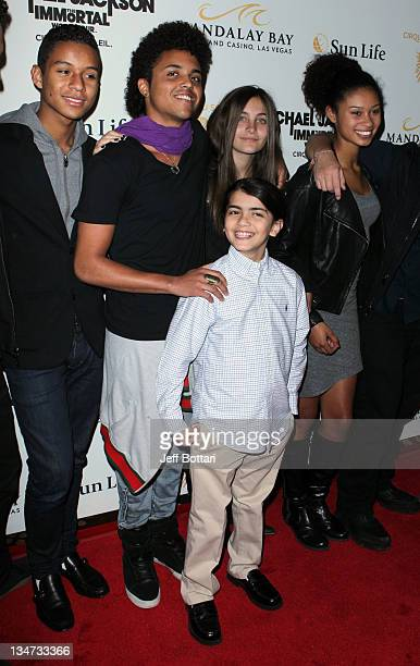 Paris Jackson and Blanket Jackson arrive with family members at the Las Vegas premiere of Michael Jackson THE IMMORTAL World Tour by Cirque du Soleil...