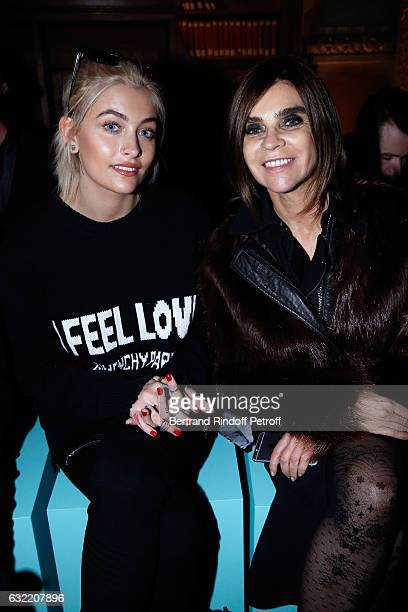 Paris Jackson and Carine Roitfeld attend the Givenchy Menswear Fall/Winter 20172018 show as part of Paris Fashion Week on January 20 2017 in Paris...