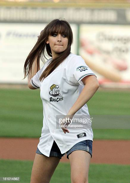 Paris Jackson attends the St Paul Saints Vs The Gary SouthShore RailCats baseball game at US Steel Yard on August 30 2012 in Gary Indiana