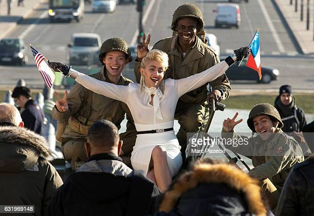 Paris Jackson is spotted during a photoshoot at the Eiffel Tower on January 18 2017 in Paris France