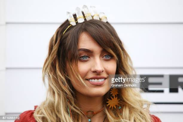 Paris Jackson poses at the Myer Marquee on Emirates Melbourne Cup Day at Flemington Racecourse on November 7 2017 in Melbourne Australia