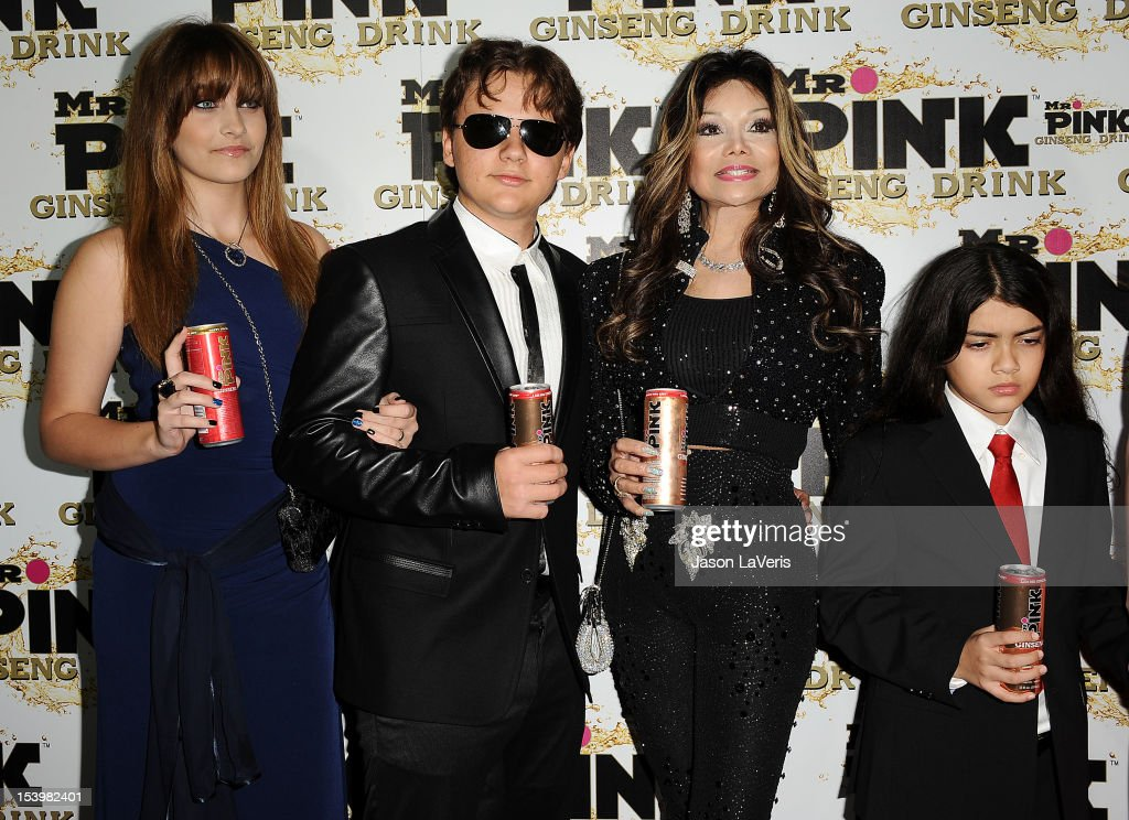 Paris Jackson, Prince Michael Jackson, La Toya Jackson and Blanket Jackson attend the Mr. Pink Ginseng Drink launch party at Regent Beverly Wilshire Hotel on October 11, 2012 in Beverly Hills, California.