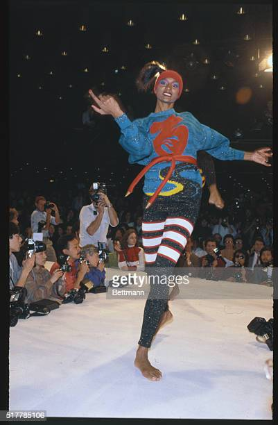 Japanese designer Kansai Yamamoto offers skin tight knit pants and long tunic tops during showing of his 19801981 FallWinter ready to wear collections