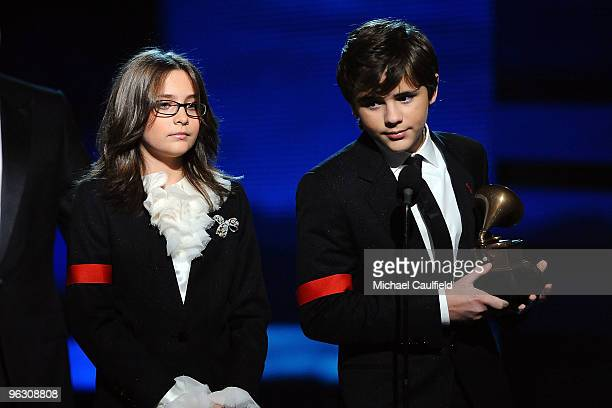 Paris Katherine Jackson and Prince Michael Jackson onstage at the 52nd Annual GRAMMY Awards held at Staples Center on January 31 2010 in Los Angeles...