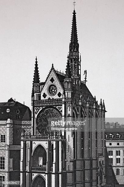 Paris la sainte chapelle france historic copperplate etching from 1860
