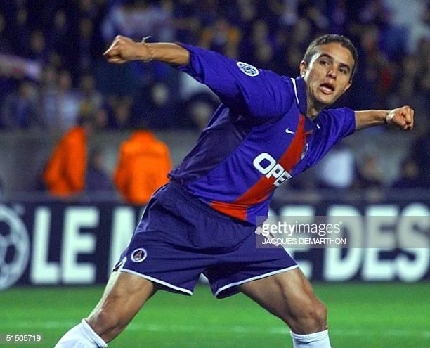 Paris Laurent Robert jubilates after scoring on a penalty kick during the PSG/Rosenborg UEFA Champions League match 24 October 2000 at Paris Parc des...
