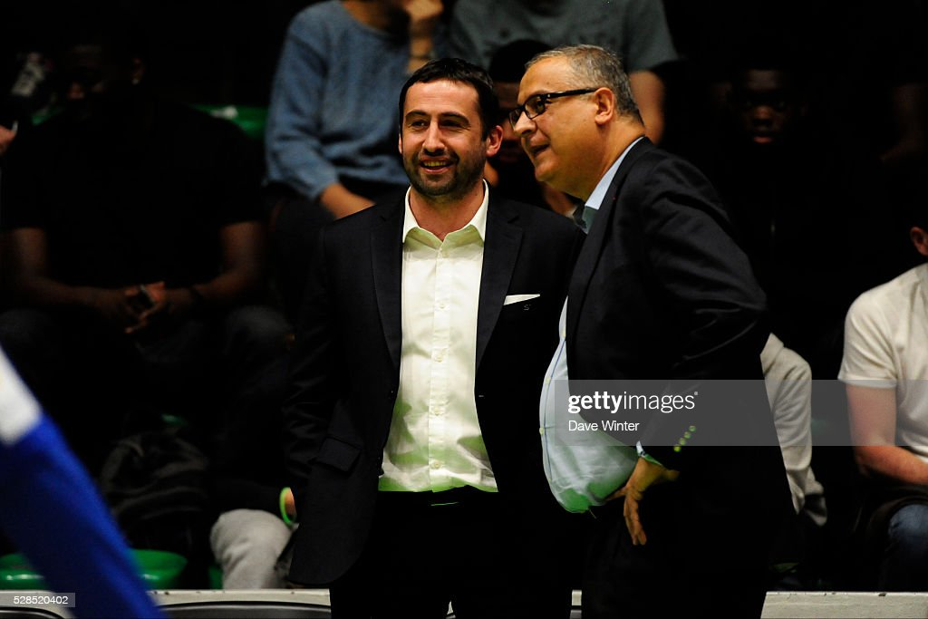 Paris Levallois coach Frederic Fauthoux and Paris Levallois president Jean Pierre Aubry during the basketball French Pro A League match between Nanterre and Paris Levallois on May 5, 2016 in Nanterre, France.