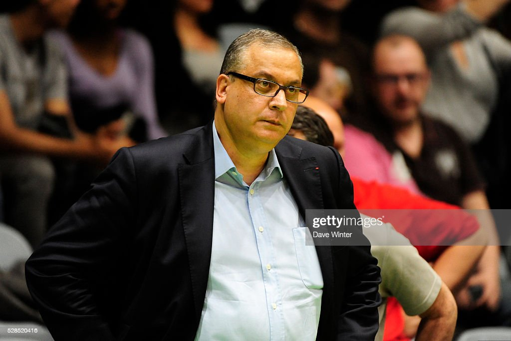 Paris Levallois president Jean Pierre Aubry during the basketball French Pro A League match between Nanterre and Paris Levallois on May 5, 2016 in Nanterre, France.