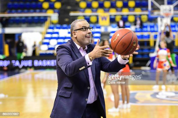 Paris Levallois president Jean Pierre Aubry during the EuropCup match between Levallois Metropolitans and Darussafaka Istanbul at Salle Marcel Cerdan...