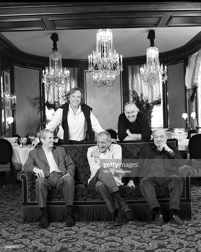 on the occasion of the 18th Film Festival of Paris in 2003, five French filmmakers posed in the salons of Fouquet's: from left to right, seated on a sofa, <a gi-track='captionPersonalityLinkClicked' href=/galleries/search?phrase=Claude+Lelouch&family=editorial&specificpeople=207051 ng-click='$event.stopPropagation()'>Claude Lelouch</a>, <a gi-track='captionPersonalityLinkClicked' href=/galleries/search?phrase=Alain+Corneau&family=editorial&specificpeople=623888 ng-click='$event.stopPropagation()'>Alain Corneau</a> (laughing) and <a gi-track='captionPersonalityLinkClicked' href=/galleries/search?phrase=Claude+Berri&family=editorial&specificpeople=2029496 ng-click='$event.stopPropagation()'>Claude Berri</a>; standing behind them, smiling, Alexandre ARCADY and <a gi-track='captionPersonalityLinkClicked' href=/galleries/search?phrase=Jean-Jacques+Beineix&family=editorial&specificpeople=628745 ng-click='$event.stopPropagation()'>Jean-Jacques Beineix</a>.
