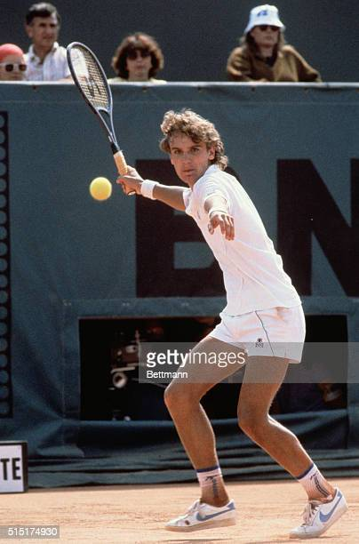 Mats Wilander Of Sweden During 1982 French Open Tennis Tournament At Roland Garros Swedish tennis man Mats Wilander in action to win against...