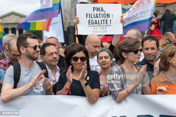 Paris' Mayor Anne Hidalgo claps during march Gay Pride 2015 in Paris on June 24th 2017 2017 marks the 40th anniversary of the first Gay Pride March...
