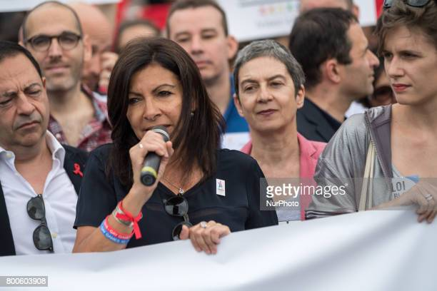 Paris' Mayor Anne Hidalgo delivery a speechs during Gay Pride 2015 in Paris on June 24th 2017 2017 marks the 40th anniversary of the first Gay Pride...