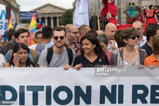 Paris' Mayor Anne Hidalgo march during Gay Pride 2015 in Paris on June 24th 2017 2017 marks the 40th anniversary of the first Gay Pride March in the...