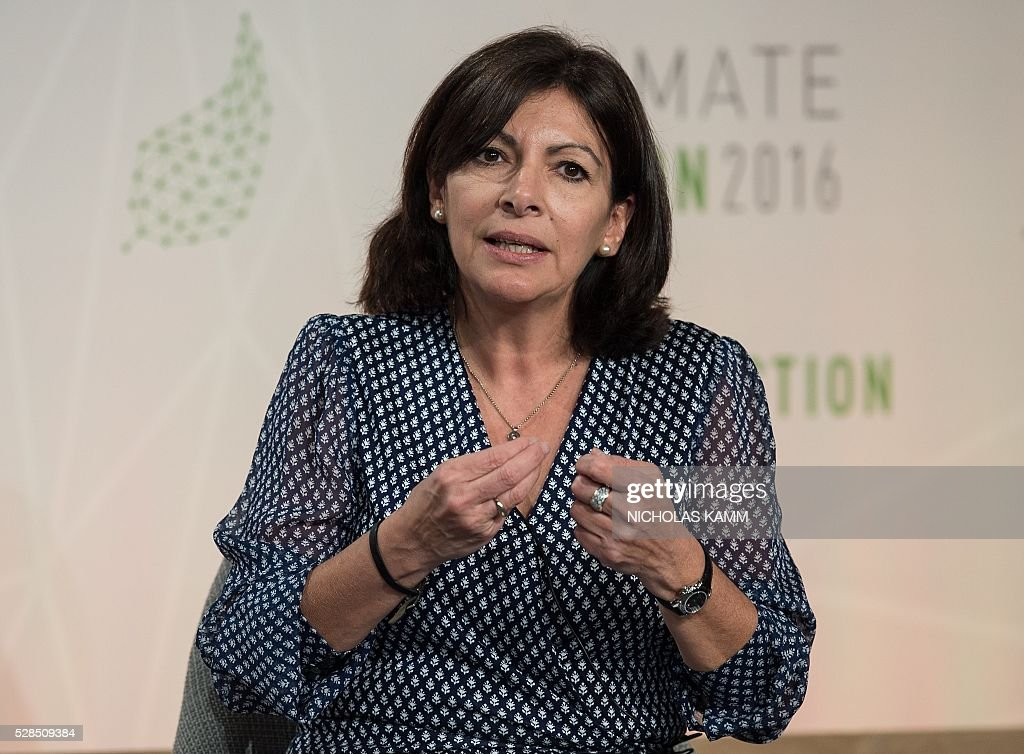 Paris mayor Anne Hidalgo participates in a discussion on 'Progress and Potential in the Months Since the Climate Summit for Local Leaders' at the Climate Action 2016 conference in Washington, DC, on May 5, 2016. / AFP / NICHOLAS