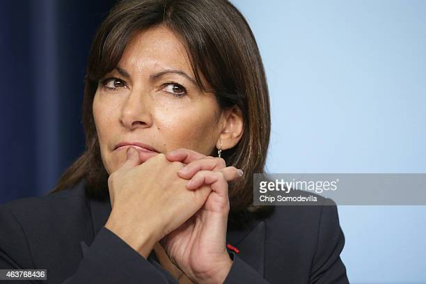 Paris Mayor Anne Hidalgo participates in a panel disucssion during the White House Summit on Countering Violent Extremism in the Eisenhower Executive...