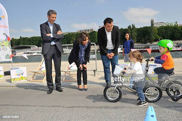 Paris Mayor Anne Hidalgo presents the Mini Velib Project on June 18 2014 in Paris France Mini Velib was designed to teach kids how to ride bikes...