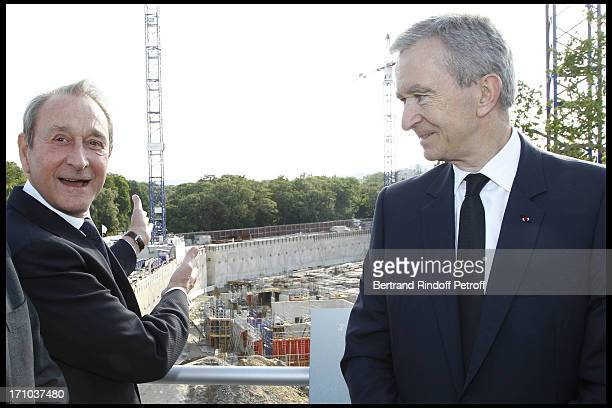 Paris mayor Bertrand Delanoe Bernard Arnault in front of the building site of the Louis Vuitton foundation at Jardin D'Acclimatation 150th...