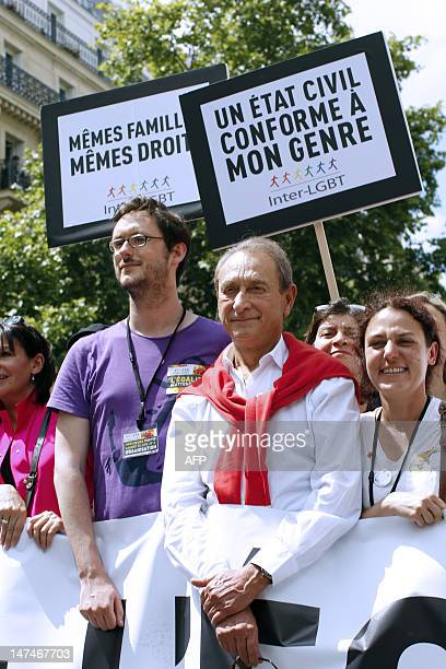 Paris Mayor Bertrand Delanoe poses during the 12th edition of the homosexual lesbian bisexual and transgender visibility march the Gay Pride on June...