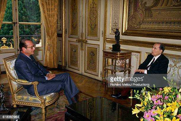 Paris mayor Jacque Chirac meets with French president Francois Mitterrand at the Palais de l'Elysee in Paris They are preparing for the 1984 G7...